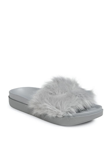 Kendall + Kylie Chain and Faux-Fur Slide Sandals-GREY-6.5