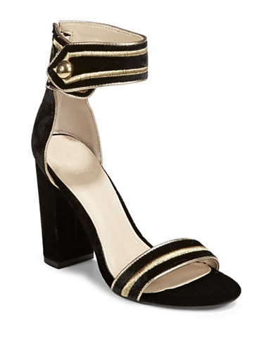 Guess Cersian Velvet Open-Toe Sandals-BLACK/GOLD-6.5