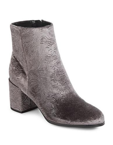 Indigo Rd Crusona Velvet Ankle Boots-GREY-8.5