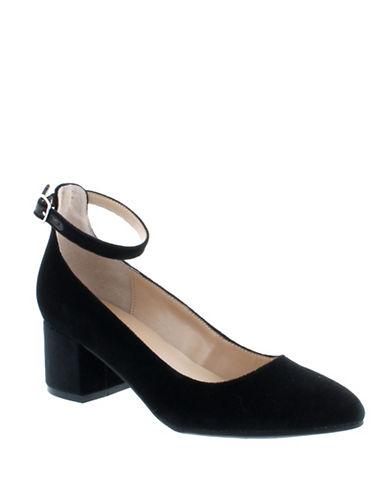 Unisa Carwinn Velvet Ankle-Strap Pumps-BLACK-6 89520734_BLACK_6
