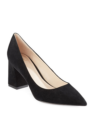 Marc Fisher Suede Block Heels-BLACK SUEDE-8.5