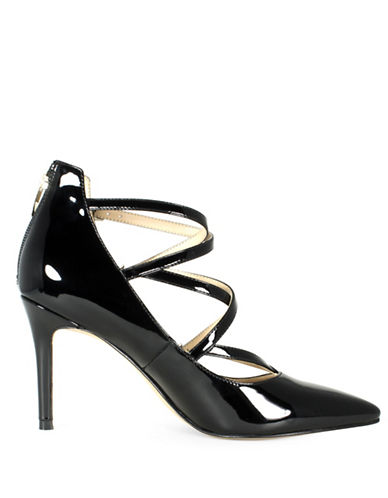 Marc Fisher Danger2 Triple Strap Faux Patent Leather Pumps-BLACK PATENT-6.5 88790870_BLACK PATENT_6.5