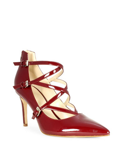 Marc Fisher Danger2 Triple Strap Faux Patent Leather Pumps-RED-8 88790882_RED_8