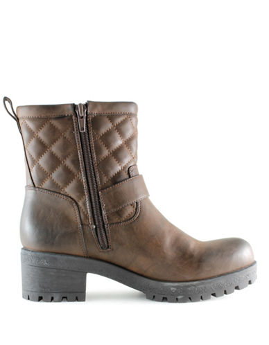 G By Guess Aloise Moto Boots-BROWN-7