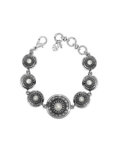 Lucky Brand Silvertone Pearl Link Bracelet-SILVER-One Size