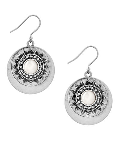 Lucky Brand Silvertone Pearl Circle Drop Earrings-SILVER-One Size