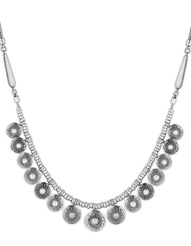 Lucky Brand Silvertone Pearl Collar Necklace-SILVER-One Size