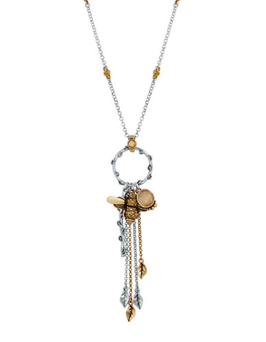 Lucky Brand Dual Tone Bee Charm Necklace-TWO TONE-One Size