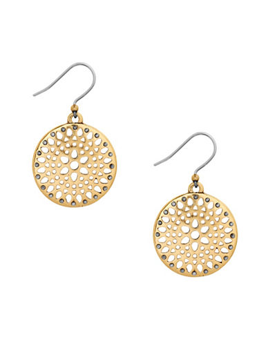 Lucky Brand Hoot Couture Openwork Disc Drop Earrings-GOLD-One Size