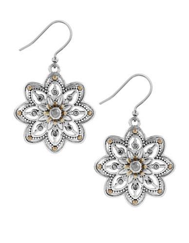 Lucky Brand Flower Drop Earrings-TWO TONE-One Size