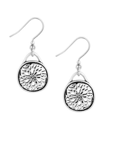 Lucky Brand Pave Holiday Luxe Silvertone Sugar Plum Drop Earrings-SILVER-One Size