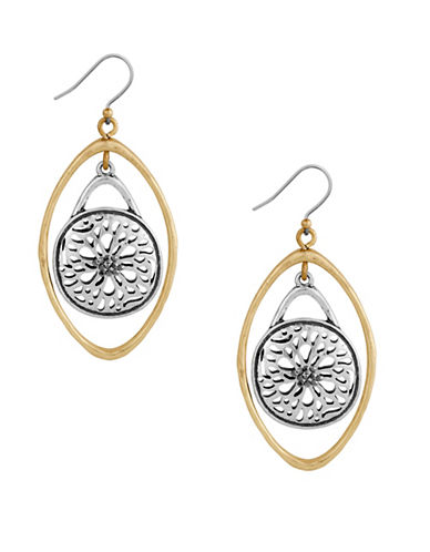 Lucky Brand Pave Holiday Luxe Two-Tone Sugar Plum Orbit Earrings-GOLD/SILVER-One Size