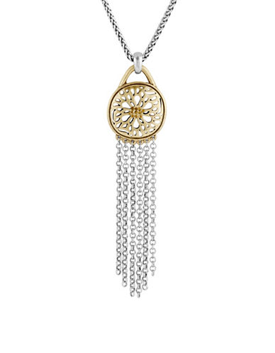 Lucky Brand Pave Holiday Luxe Rock Crystal Two-Tone Sugar Plum Fringe Pendant Necklace-TWO TONE-One Size