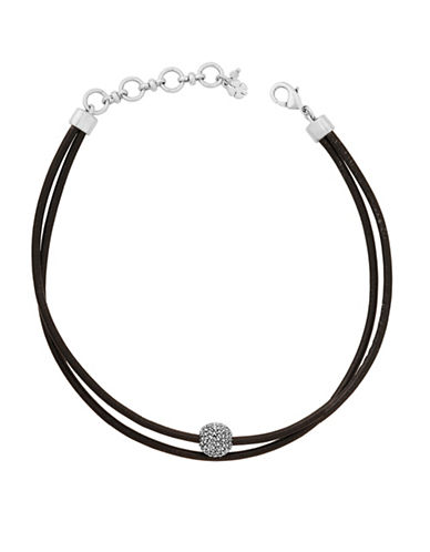 Lucky Brand Rock Crystal and Leather Silvertone Choker Necklace-SILVER-One Size
