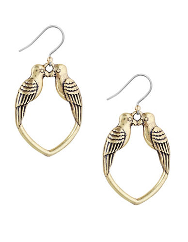 Lucky Brand Kissing Bird Earrings-GOLD-One Size
