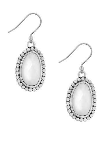 Lucky Brand California Gardens Silvertone Drop Earrings-WHITE-One Size