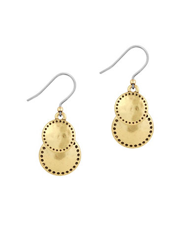 Lucky Brand Double Drop Earrings-GOLD-One Size