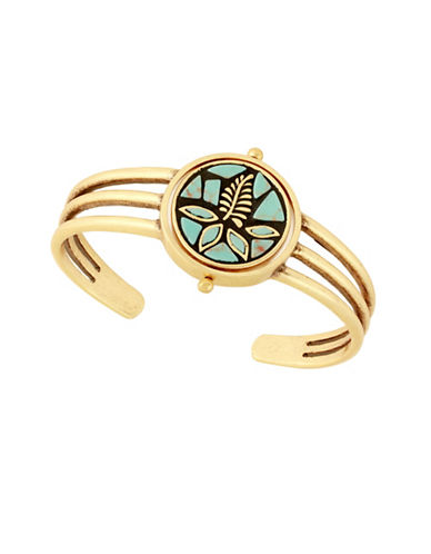Lucky Brand Tropical Turquoise Semi-Precious Mosaic Cuff Bracelet-TURQUOISE-One Size