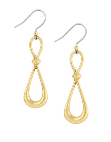 Lucky Brand Tropical Turquoise Hoop Drop Earrings-GOLD-One Size