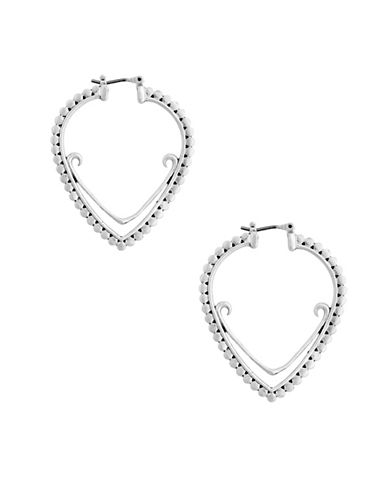 Lucky Brand Tropical Turquoise Open Teardrop Hoop Earrings-SILVER-One Size