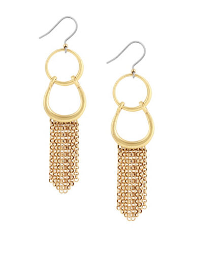 Lucky Brand Tropical Turquoise Two-Tone Front Facing Hoop Fringe Earrings-GOLD-One Size