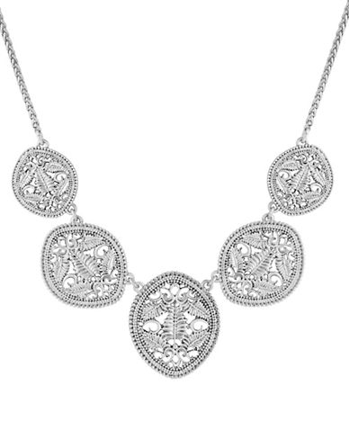 Lucky Brand Tropical Turquoise Openwork Collar Necklace-SILVER-One Size