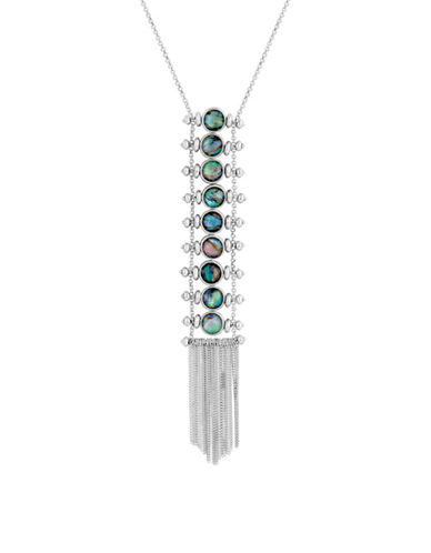 Lucky Brand Key Item Abalone Ladder Necklace-GREEN-One Size