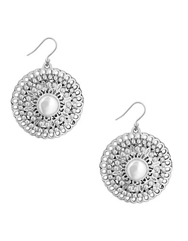 Lucky Brand Ethereal Coasts Faux Pearl Openwork Circle Drop Earrings-SILVER-One Size