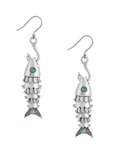 Lucky Brand Ethereal Coasts Fish and Hook Earrings-GREEN-One Size
