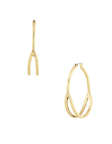 Lucky Brand Coral Tribes Goldtone Split Hoop Earrings-GOLD-One Size