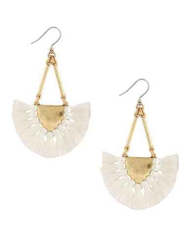 Lucky Brand Coral Tribes Goldtone Fringe Drop Earrings-WHITE-One Size