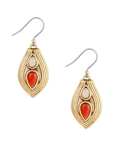 Lucky Brand Coral Tribes Goldtone Textured Drop Earrings-CORAL-One Size