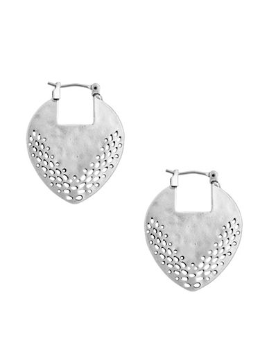 Lucky Brand Coral Tribes Openwork Hoop Earrings-SILVER-One Size