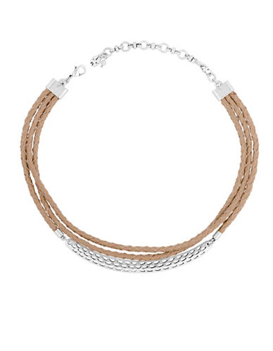 Lucky Brand Coral Tribes Semi-Precious Choker Necklace-SILVER-One Size
