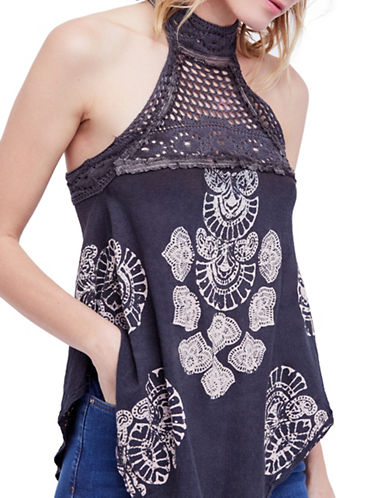 Free People Printed Mandolin Tank Top-DARK GREY-Small