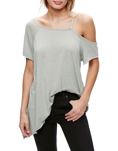 Free People Coralin Cotton Blend Tee-GREEN-X-Small 89014895_GREEN_X-Small