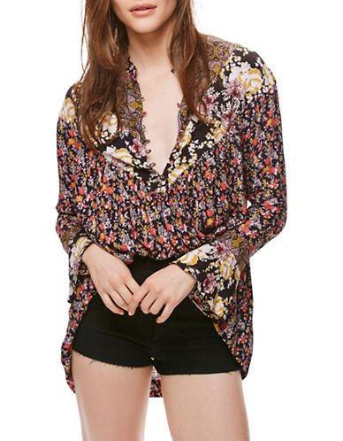 Free People Wildflower Fields Printed Tunic-BLACK-X-Small