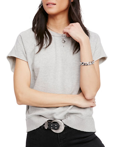 Free People Distressed T-Shirt-GREY-X-Small 89014994_GREY_X-Small