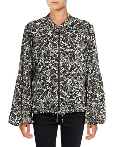 Free People Soft Printed Balloon Sleeve Jacket-GREEN-Medium 88939110_GREEN_Medium