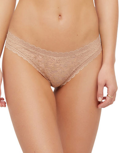 Free People Lace Slim Tanga-BEIGE-Medium