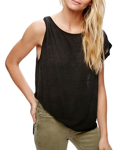 Free People Asymmetric Linen-Blend T-Shirt-BLACK-X-Small 89201423_BLACK_X-Small