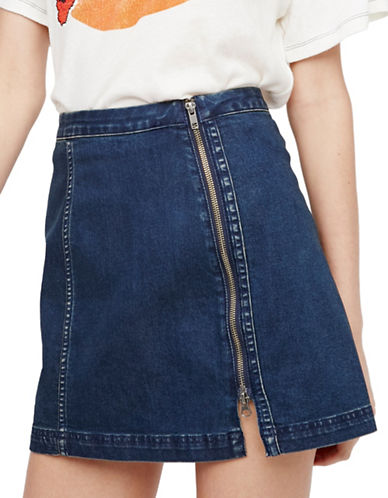 Free People Side Zip Skirt-BLUE-6