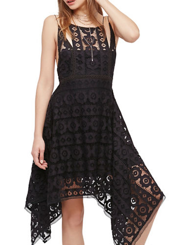Free People Just Like Honey Lace Fit and Flare Dress-BLACK-2