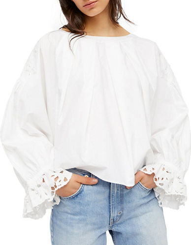 Free People Oversized Cotton Blouse-WHITE-Large