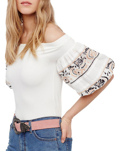 Free People Rock With It Off-the-Shoulder Top-IVORY-Small