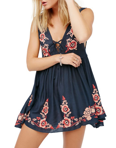Free People Embroidered Aida Slip Mini Dress-BLUE-Medium