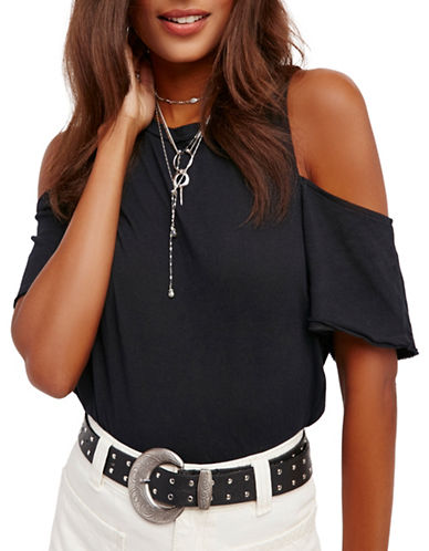 Free People Taurus Cold-Shoulder Tee-BLACK-X-Small 89296345_BLACK_X-Small
