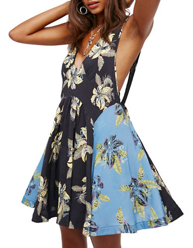 Free People Thought I Was Dreamin Mini Dress-BLACK/BLUE-Small