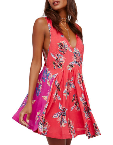 Free People Thought I Was Dreamin Mini Dress-RED/PINK-Small