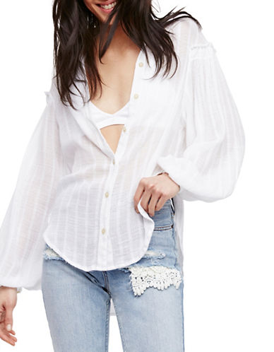 Free People Highlands Button-Up Shirt-WHITE-Medium